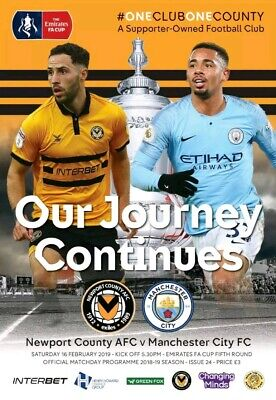 Newport County v Manchester City 18/19 FA Cup 5th Round Programme Mint Condition