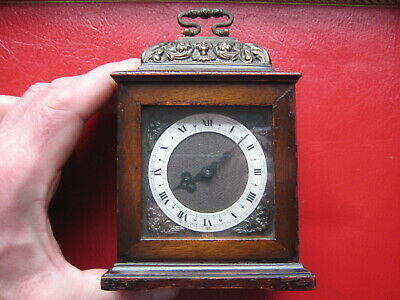 Very nice MINIATURE BRACKET CLOCK in wooden case, from 60's or 70's, working.