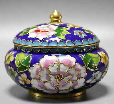 Collectable China Old Cloisonne Carve Blooming Peony Flower Noble Storage Box