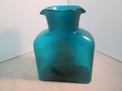 signed BLENKO AquaBlue Turquoise Colored Art Glass Square Vase 2013 Collectors