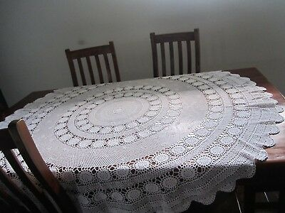 LARGE Round Table Cloth Hand Crocheted White 162cm
