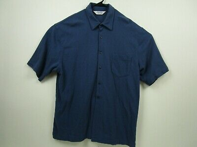 Vintage Mens Brooks Brothers XL Blue Short Sleeve Button Front Casual Shirt