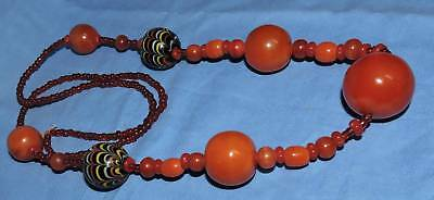 c23 huge amber with glass trade beads long necklace very unusual