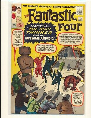 Fantastic Four # 15 - 1st Mad Thinker Fine Cond. price sticker on cover