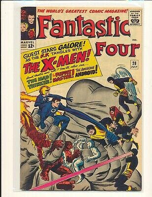 Fantastic Four # 28 - early X-Men crossover Fine+ Cond.