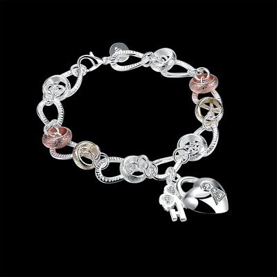 New 925Sterling Solid Silver Jewelry Crystal Gold Heart Bracelet For Women H233