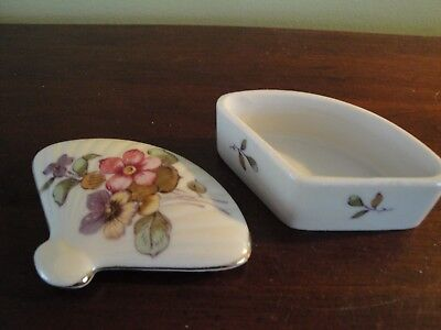 Vintage Lefton China Floral Fan Trinket Box Violets And Butterfly