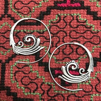 Silver Plated Art Nouveau Tribal Spiral Earrings