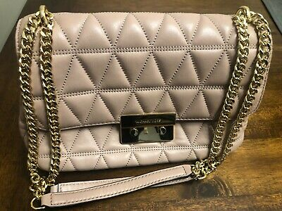 41d3d067e83d Michael Kors Sloan Large Quilted Leather Chain Shoulder Bag Fawn Crossbody