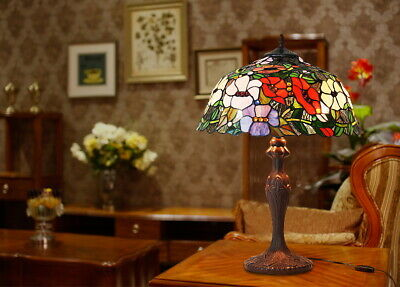 "Large Traditional 16"" Morning Glory Stained glass Tiffany Table Lamp 24"" High"