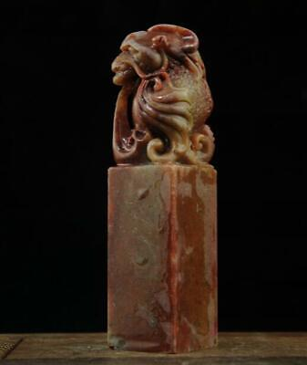 Chinese Shoushan stone hand-carved ancient beast button seal 8 b02