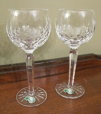 "Fantastic Waterford Crystal Hock Wine Glasses Lismore 7 1/2"" Tall"