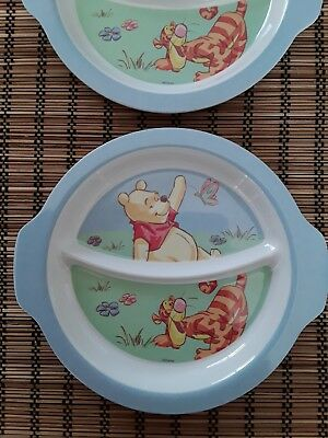 2 x Melamine kids Dinner Serving Plate Winnie The Pooh sectioned plate