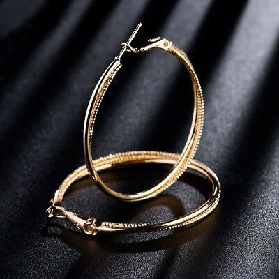 New Fashion 18k Yellow Gold Filled Stunning Charming Big Hoop Earrings Jewelry