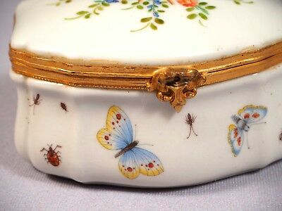 Antique French Sevres Trinket Dresser Box Porcelain Modele et Decoration
