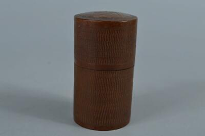 R9187:Japanese Wooden Flower sculpture TEA CADDY Chaire Container Tea Ceremony