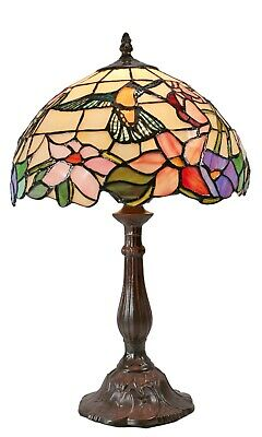 Tiffany Lamp Hexagon Shade Stained Glass Table Lamp with Intricate Filigree
