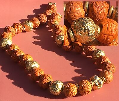 Rare Vintage Japanese Or Chinese Orange & Gilt Textured Beads Necklace Pits ?