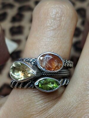 Lori Bonn Rings Signed Set Sterling Silver Peridot Citrine Gemstones Stacking