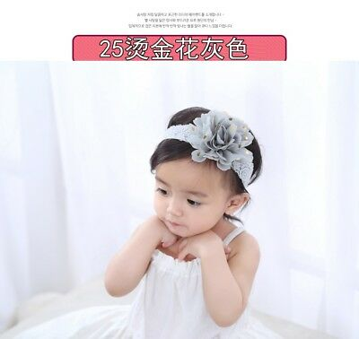 fashion baby infant girl lace chiffon flower elastic soft headband hair bands 25
