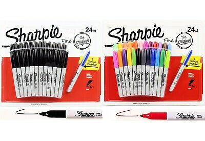 24 +1 NEW SHARPIE Fine Point Permanent Marker Texta BLACK Office Writing pen Tip
