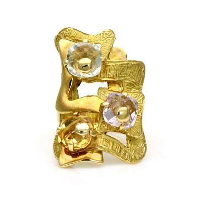 Estate Greek Multicolor Gems 18k Yellow Gold Large Fancy Design Long Finger Ring
