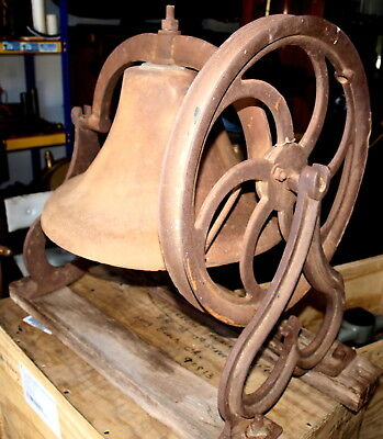 #743 Antique Gothic Iron Church Bell & Cradle