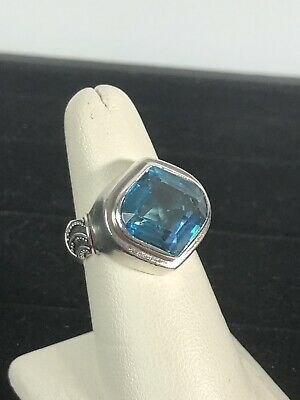 Lori Bonn Sterling Silver .925 Custom Cut Large Blue Topaz Ring SZ 7