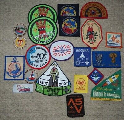 21 Assorted Scout Badges / Patches for trading / swapping or camp blanket