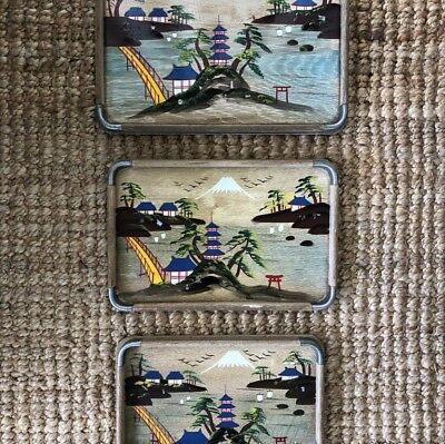 Trio of hand painted Japanese graduated trays c1930's Vintage