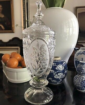 Tall Lidded Glass Apothecary Jar Or Urn Floral Frosted Motif
