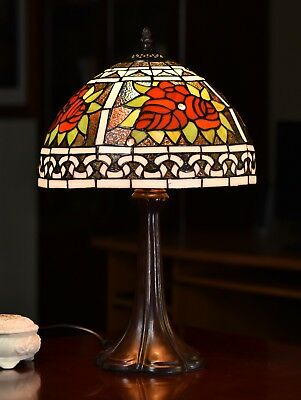 """$1 Auction, NR@Museum Quality 12"""" Red Rose Flower Tiffany Bedside Table Lamp"""