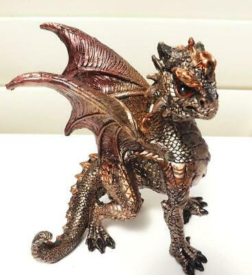 13cm  DRAGON FIGURINE STATUE BRONZE & BLACK METALLIC EFFECT POLY RESIN C