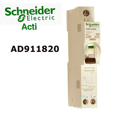 Schneider Acti9 A9D11820 20A 30mA RCBO  + BRAND NEW + Free Delivery