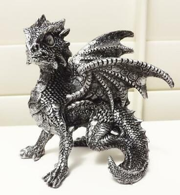 13cm  DRAGON FIGURINE STATUE  BLACK METALLIC EFFECT POLY RESIN A