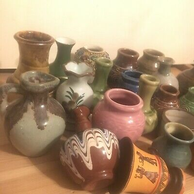 Bulk Lot 21 Little Small Miniature Pottery Items Jugs Vases Pots Signed Handmade