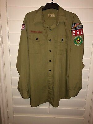 Vintage Green Boy Scouts Of America Long Sleeve Shirt Patches Neck Size 17 XL