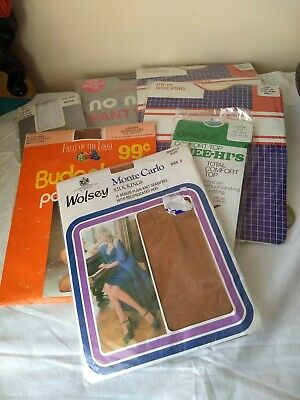 Job Lot Of 7 Pairs of Vintage Stockings & Tights Un-Worn In Original Packets