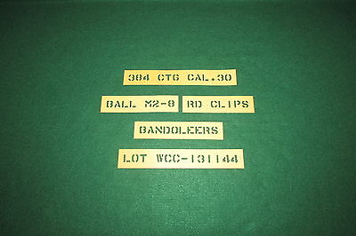 """WWII American 384 Cal .30 Stencils Letter Size 1/2"""""""