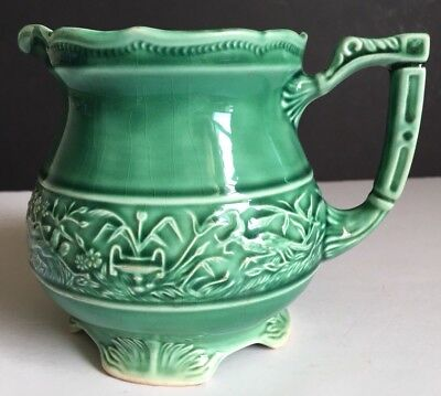 Vintage Green Pitcher Embossed with Birds and Flowers ~ Footed