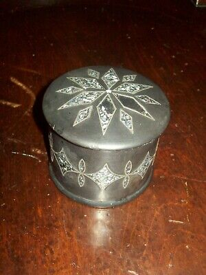 Antique lidded pot with Abalone Shell Inlay