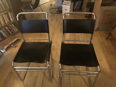 Vintage, Mid Century, Modern Pair Of Black Leather And Steel Chairs