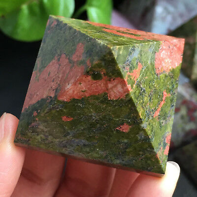 TOP Natural Green Epidote Red Jasper Stone Crystal PYRAMID Healing 74g A11005