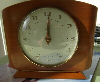 Vintage Retro 60s Smiths Wooden Mantle clock. Working. Spares or repair.