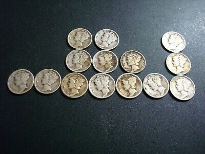 Lot of 14 Mercury Silver Dimes 1930s  Different Dates and/or Mint Marks