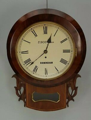 19th CENTURY  MAHOGANY ENGLISH FUSEE  DROP DIAL WALL CLOCK J SCOTT BIRMINGHAM