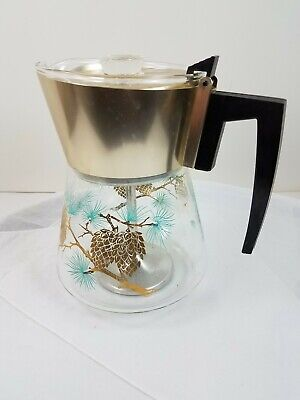 Vtg Douglas Flameproof Perculator Coffee Pot Glass Pinecone Design Stem Basket