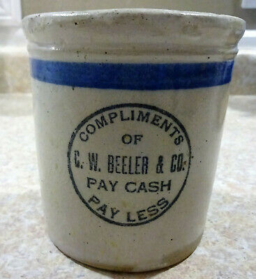 "Antique REDWING Advertising Stoneware BEATER JAR ""Beeler & Co Pay Cash Pay Less"""
