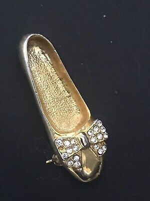 Beautiful Vintage Art Deco Style Brooch - Crystal Stones Slipper 1702009