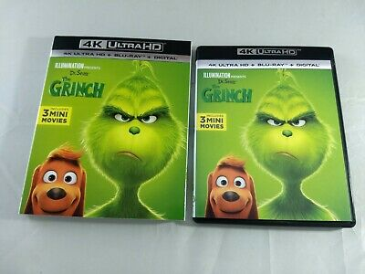 Dr. Seuss' The Grinch 4K UHD Disk, Bluray w/ Slipcover